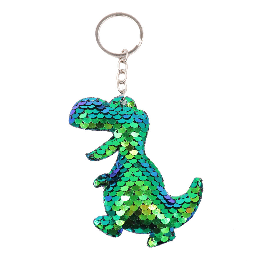 Fashion Cute Shiny Dinosaur Sequins Keychain Metal Mermaid Animal Key Chain Keyrings For Women Car Bag Pendant Jewelry