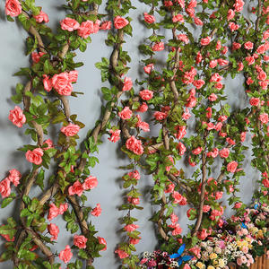 Artificial Flowers Rose Rattan 230cm length/ 16 to 69 flower Flowers for A Wedding Arch Garland Romantic Rose In Glass Dome