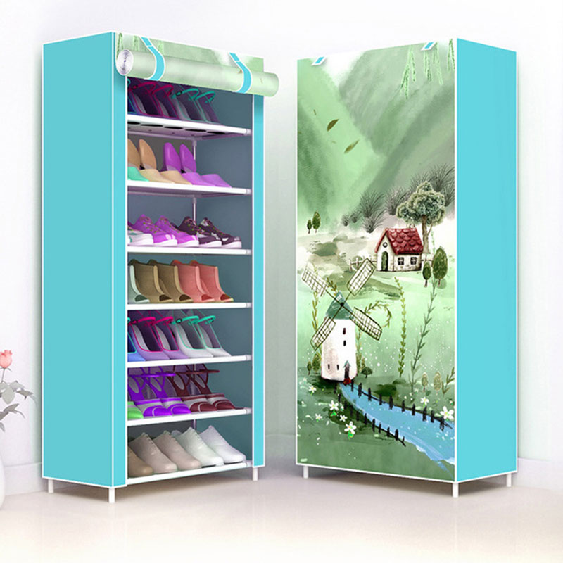 Simple Multi-layer Home Dustproof Shoe Cabinet Space-saving Dormitory Small Shoes Rack Folding Shoe Storage Rack Cabinet