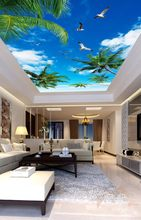 Photo Wall Paper Living Room Mural Natural Straw Wallpaper Blue sky white clouds coconut palm ceiling, mural(China)