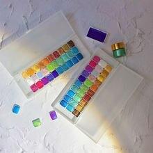 30 cores sólido sub-pacote perolado pintura em aquarela bloco portátil aquarelas arte do prego aquarela acuarelas conjunto suupplies