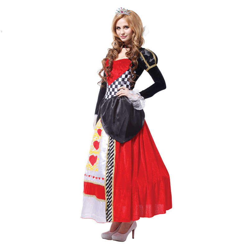 Hot plus size <font><b>alice</b></font> <font><b>in</b></font> <font><b>wonderland</b></font> queen of hearts <font><b>costumes</b></font> women <font><b>costume</b></font> <font><b>Sexy</b></font> Royal Cosplay Clothing Women Halloween Fancy Dress image