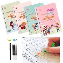 4 Books + Pen Sank Reusable 3D Magic Exercise Book Children 0-10 Writing Stickers Calligraphy English Numbers Montessori Toys