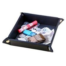 Складной поднос для ключей из искусственной кожи, органайзер для мелочи, креативный ящик для хранения, кошелек, держатель для монет, поднос для аксессуаров
