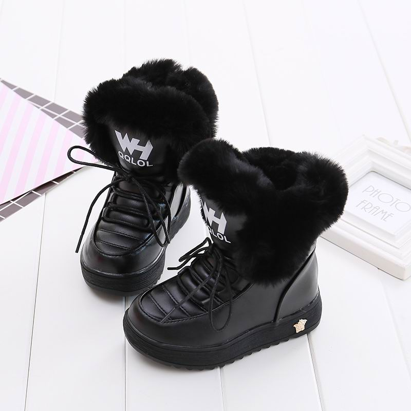 Mudipanda Kids Boots Winter Shoes Girls Kids Winter Boots Black Pink Botte Enfant Fille Add Wool Warm Winter Shoes For Students