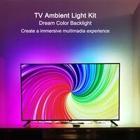 Umgebungs TV Kit für HDMI Geräte Traum Bildschirm 4K HDTV Computer Hintergrundbeleuchtung Hintergrund Beleuchtung USB WS2812B LED Streifen Voller set