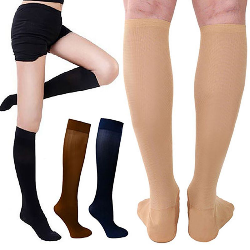 Multicolor pressure varicose veins leg compression socks relief pain knee sport socks support stretch breathable soccer socks