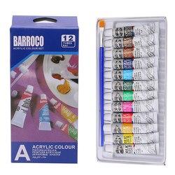 6 ml 12 kolorów profesjonalne farby akrylowe zestaw ręcznie malowana farba do ścian tuby artysta rysowanie malowanie Pigment Free Brush na