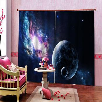 Moon Earth Curtains Universe Earth print Blackout windows curtain for Living Room Bedroom