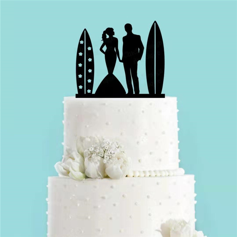 Unique Surf Couple Bride And Groom Cake Topper Black Acrylic Surfboard Beach Wedding Cake Topper Party Supplies