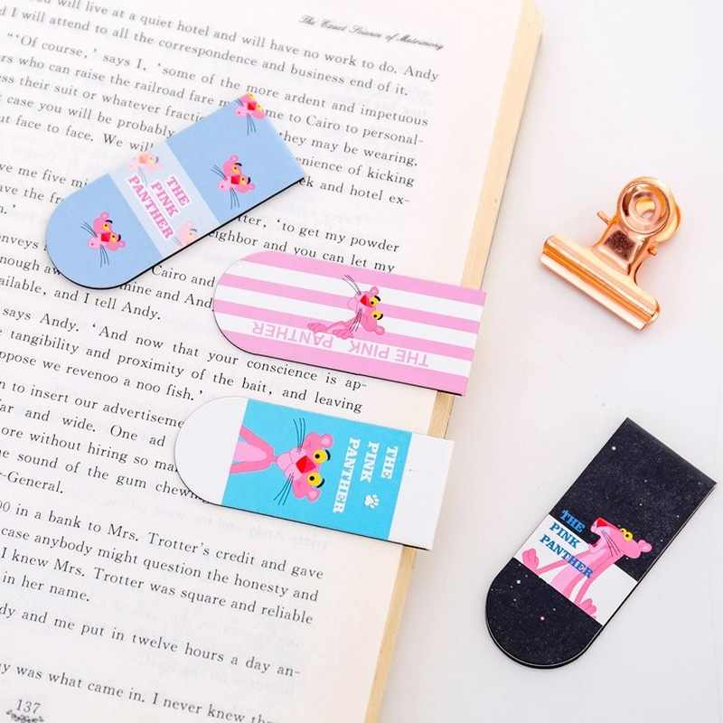 1 Stuk Leuke Cartoon Roze Luipaard Magnetische Bookmark Pagina Nieuwigheid Student Label Mini Paperclip Stationery School Office Supply