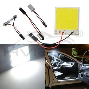 Image 4 - 2x branco 24 36 48smd cob led painel de leitura automática mapa lâmpada painel luz cúpula festoon ba9s 3 adaptador dc 12v auto led cob luzes led