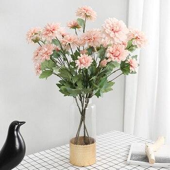 1 unidad de ramo de flores artificiales de seda de Dalia grande de 6 cabezas para decoración de boda, ramo de flores blancas falsas