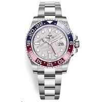 Reloj con bisel de cerámica para hombre, reloj mecánico automático de acero inoxidable, cristal de zafiro, oro de lujo, GMT, 40mm