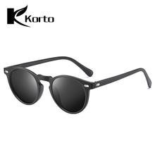Korto Trend Men Polarized Round Sunglasses Women TAC Lens TR90 Frame Small Yellow Ladies Vintage Zonnebril Dames
