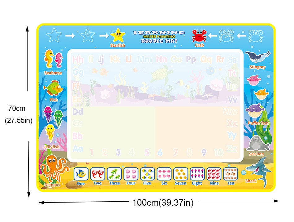 Coolplay 100x100cm Magic Water Drawing Mat Doodle Mat & 4 Drawing Pens & 1 Stamps Set Painting Board Educational Toys for Kids