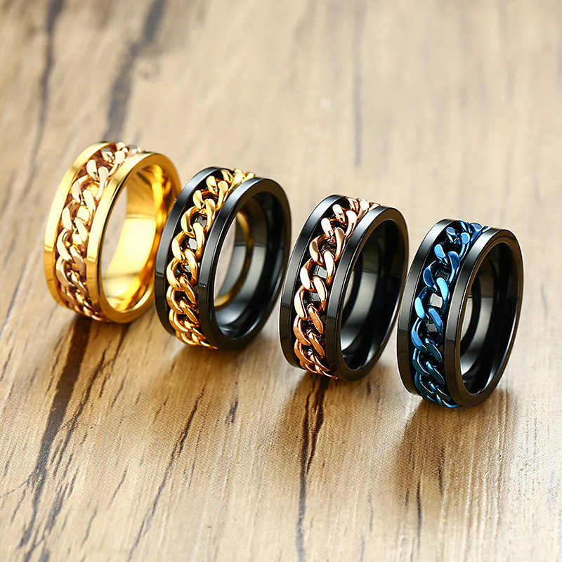 Meaeguet Spinner Chain Ring Men Stainless Steel Metal Not Fade Gold Black Blue Silver Color Reliever Stress