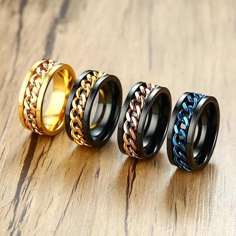 Meaeguet SPINNER แหวนผู้ชายสแตนเลสโลหะไม่จางหายทองสีดำสีฟ้าเงินสี Reliever ความเครียด