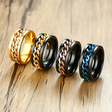Wholesale mens ring Punk rock accessories stainless steel black chain spinner rings