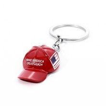 Faça a américa grande novamente chapéu donald trump chaveiro moda criativo mini vermelho republicano chapéu boné metal jóias para o homem feminino presente
