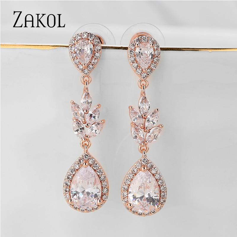 ZAKOL роскошные длинные висячие серьги розового золота с круглым цирконием, элегантные серьги для женщин, свадебные ювелирные изделия, платье...
