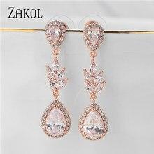 ZAKOL-pendientes colgantes largos de circonia cúbica para mujer, Color dorado y rosa, joyería de boda, vestido, FSEP5075