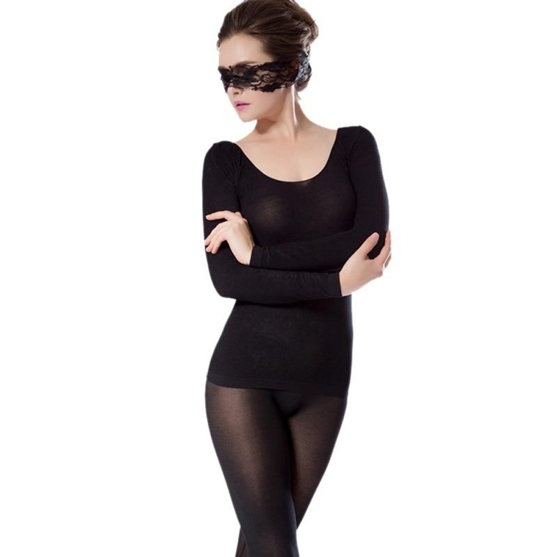 Autumn And Winter New Ladies Round Neck Solid Color Seamless Light High Elastic Ladies Underwear Set