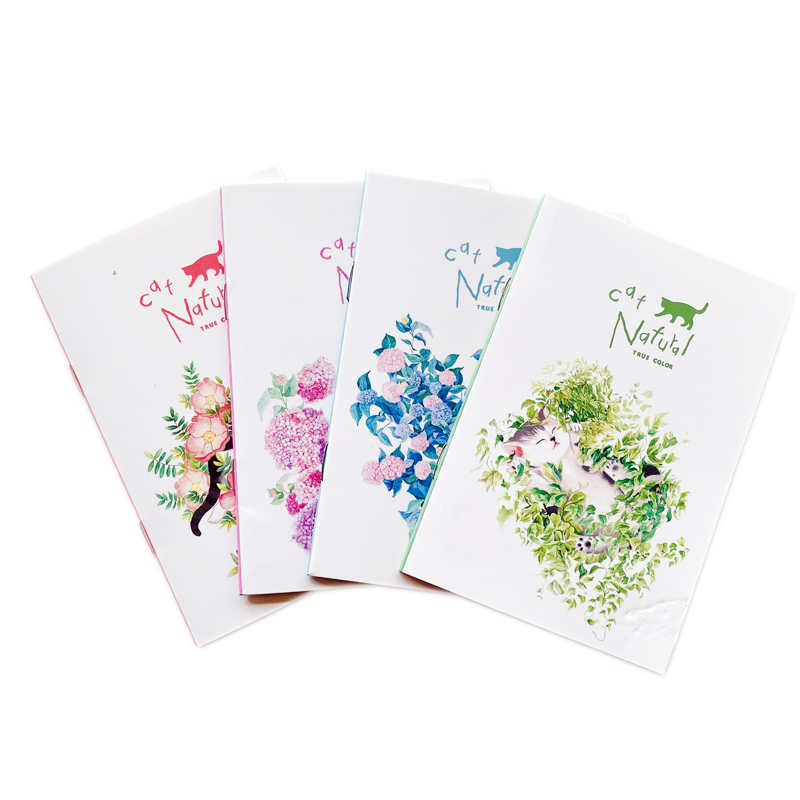 20 Pages Cute Elegant Cat & Flower Notebook Writing Diary Book Gift For Event School Office Supply Student Stationery