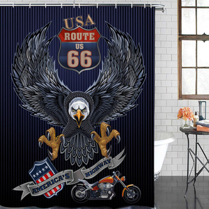 Баннер с орлом мотоцикл изображения занавеска для душа Водонепроницаемая Ванная занавеска для душа с крючком аксессуары для ванной комнат...