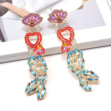 Wholesale ZA Colorful Crystals Dangling Drop Long Earrings Fine Jewelry Accessories Fashion Trend Pendientes Bijoux For Women