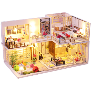 CUTEBEE Kids Toys Dollhouse with Furniture Assemble Wooden Miniature Doll House Diy Dollhouse Puzzle Toys For Children sylvanian families house diy dollhouse blue times handmade house wooden toys dolls house furniture kids toys juguetes brinquedos