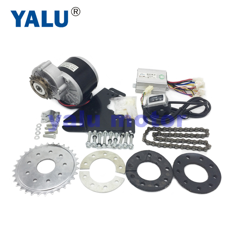 YALU 24V <font><b>36V</b></font> 350W Left Side Chain Drive <font><b>Brush</b></font> Electric EBike <font><b>Motor</b></font> Kit Rear Wheel Gear Sprocket Electric <font><b>Motor</b></font> Bicycle Solution image