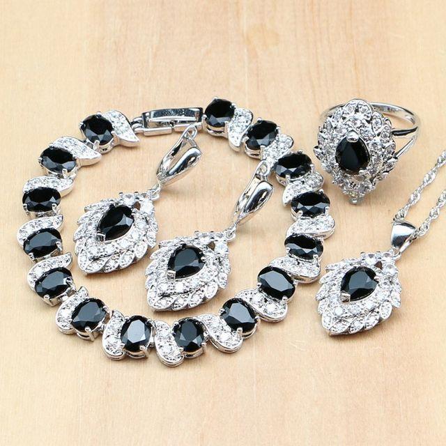Strawberry 925 Silver Jewelry Black Zircon White CZ Costume Jewelry Sets For Women Earrings/Pendant/Rings/Bracelet/Necklace Set
