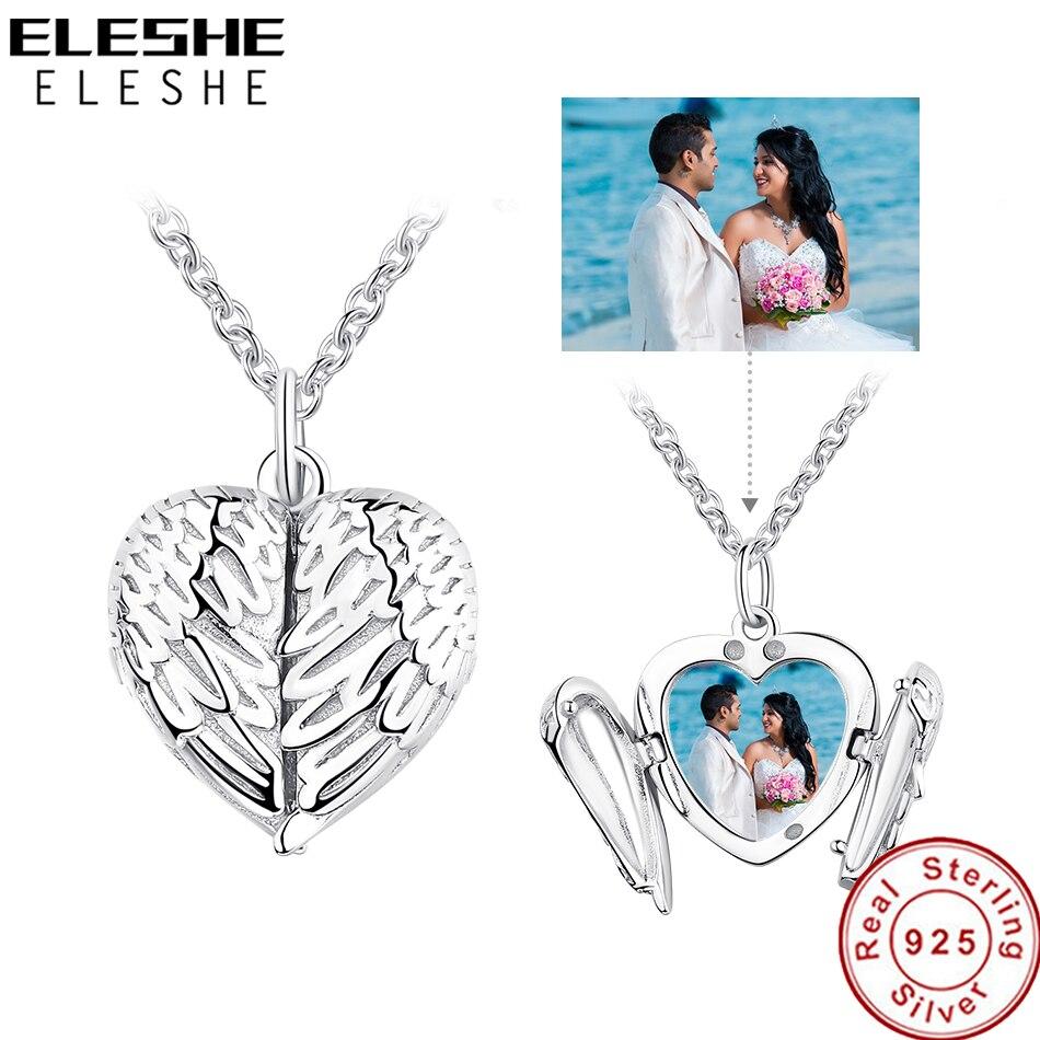 ELESHE 925 Sterling Silber Engel Flügel Halskette Anhänger für Frauen Lange Kette Halsketten, Personalisierte Foto Herz Schmuck