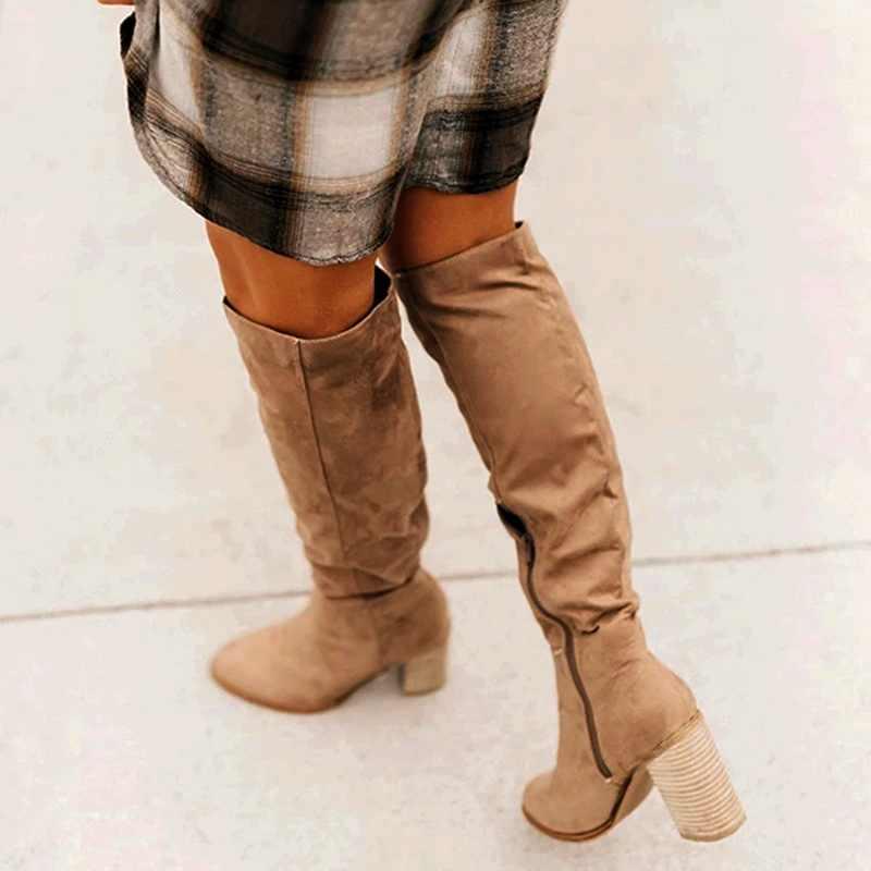 ขนาด 35-43 2019 ใหม่รองเท้าผู้หญิงรองเท้าสีดำเหนือเข่ารองเท้าบูทเซ็กซี่หญิงฤดูใบไม้ร่วงฤดูหนาว Lady ต้นขา high BOOTS zapatos de mujer
