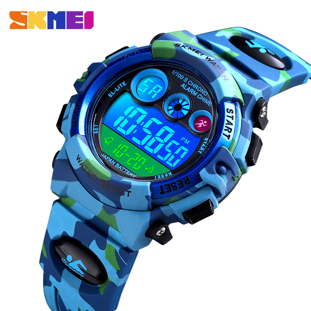 SKMEI Children LED Electronic Digital Watch Stop Watch Clock 2 Time Kids Sport Watches 50M Waterproof Wristwatch For Boys Girls 2