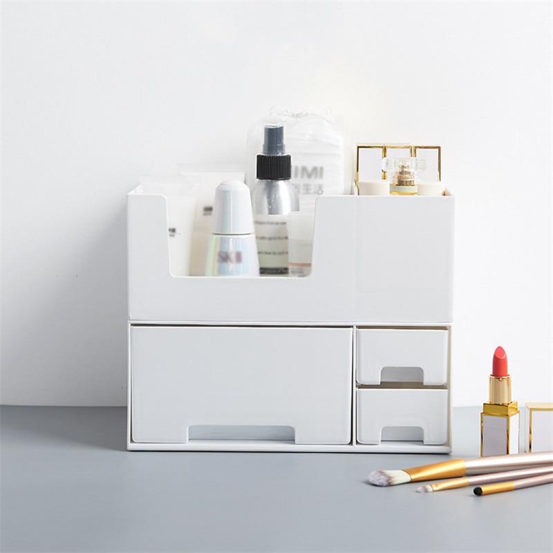 Grey White Plastic Cosmetic Drawer Makeup Organizer Makeup Storage Box Container Nail Casket Holder Desktop Sundry Storage Case Storage Boxes & Bins Home & Garden - title=