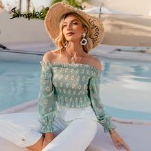 Chiffon Tops Simplee Elegant Green Off-Shoulder Women Shirt Floral-Printed Summer Holiday