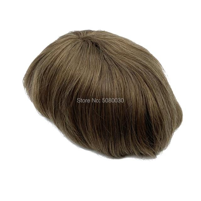 Peluquín frontal para hombre, con nudo Invisible natural, 100%, eurotouch 6