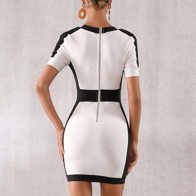 Seamyla New Women Bandage Dress Fashion Short Sleeve White Bodycon Celebrity Party Dresses Sexy V Neck Button Club Summer Dress 6
