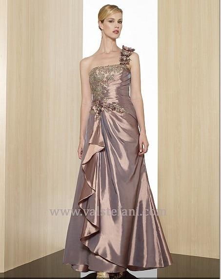 Free Shipping 2018 New Arrival Maxi Vestido De Festa Long Beaded Taffeta Dress One Shoulder Elegant Party Bridesmaid Dresses