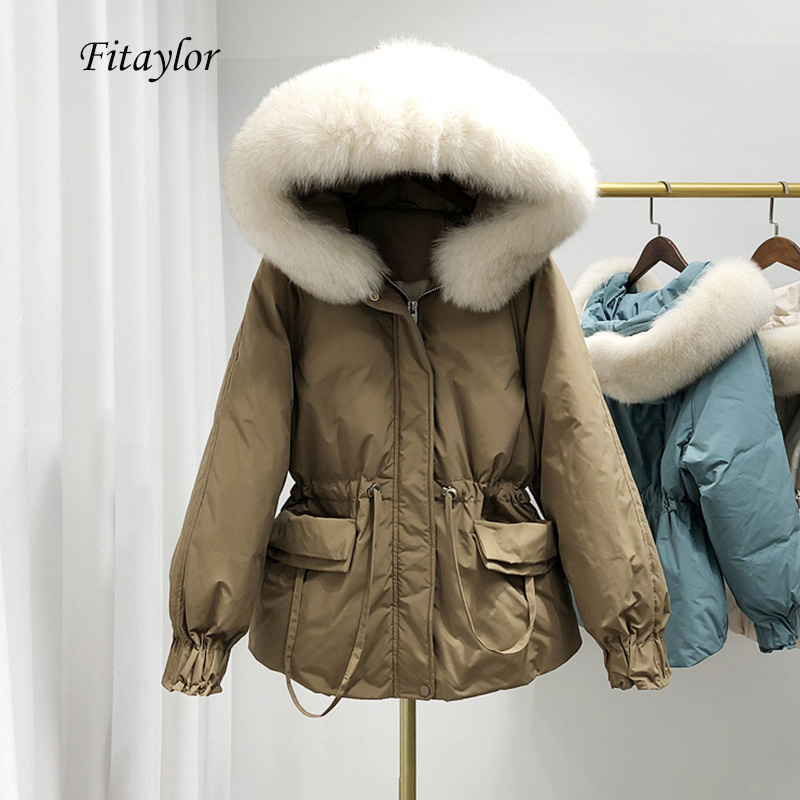 Fitaylor Large Natural Fox Fur Hooded Down Jacket Winter Warm 90% White Duck Down Parka Women Sash Tie Up Short Snow Loose Coats