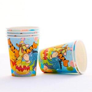 Image 2 - Childrens birthday party supplies Winnie the Pooh cartoon theme set Baby birthday dress set supplies cups dish straw tablecloth