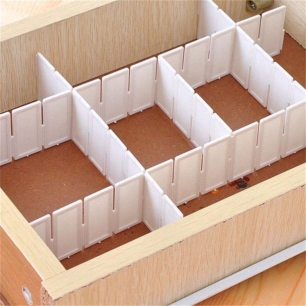6Pcs Good Quality Practical Plastic DIY Grid Drawer Divider Household Office Necessities Storage Organizer Divider White