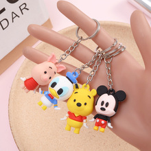 Disney Stitch Donald Duck Winnie PVC Action Figure Keychain Key Ring Cartoon Anime Mini Figure Model Gift Children Kids Toys