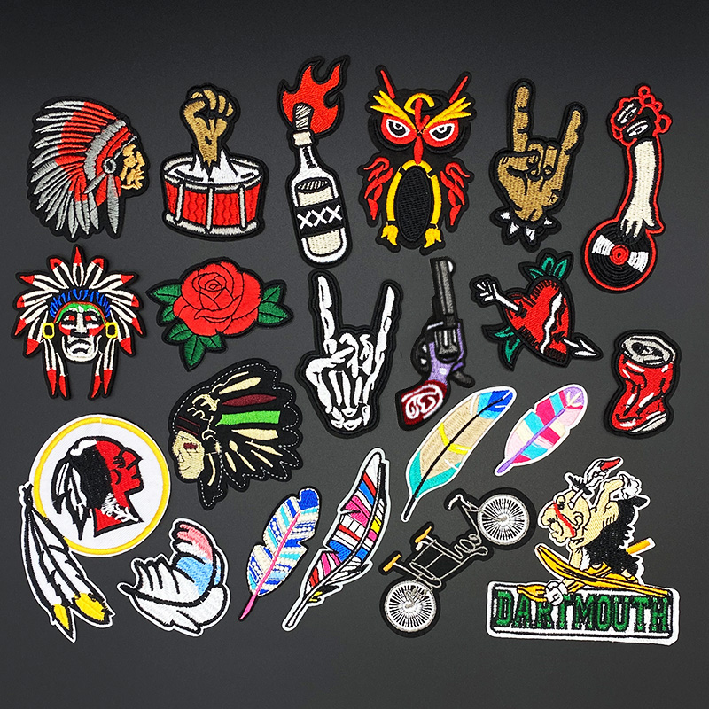 Vintage Indian Punk hand Finger Clothing Patch Iron on Stripes for Badges Stickers on Clothes Rock Fingers Embroidery Appliques|Patches|   - AliExpress