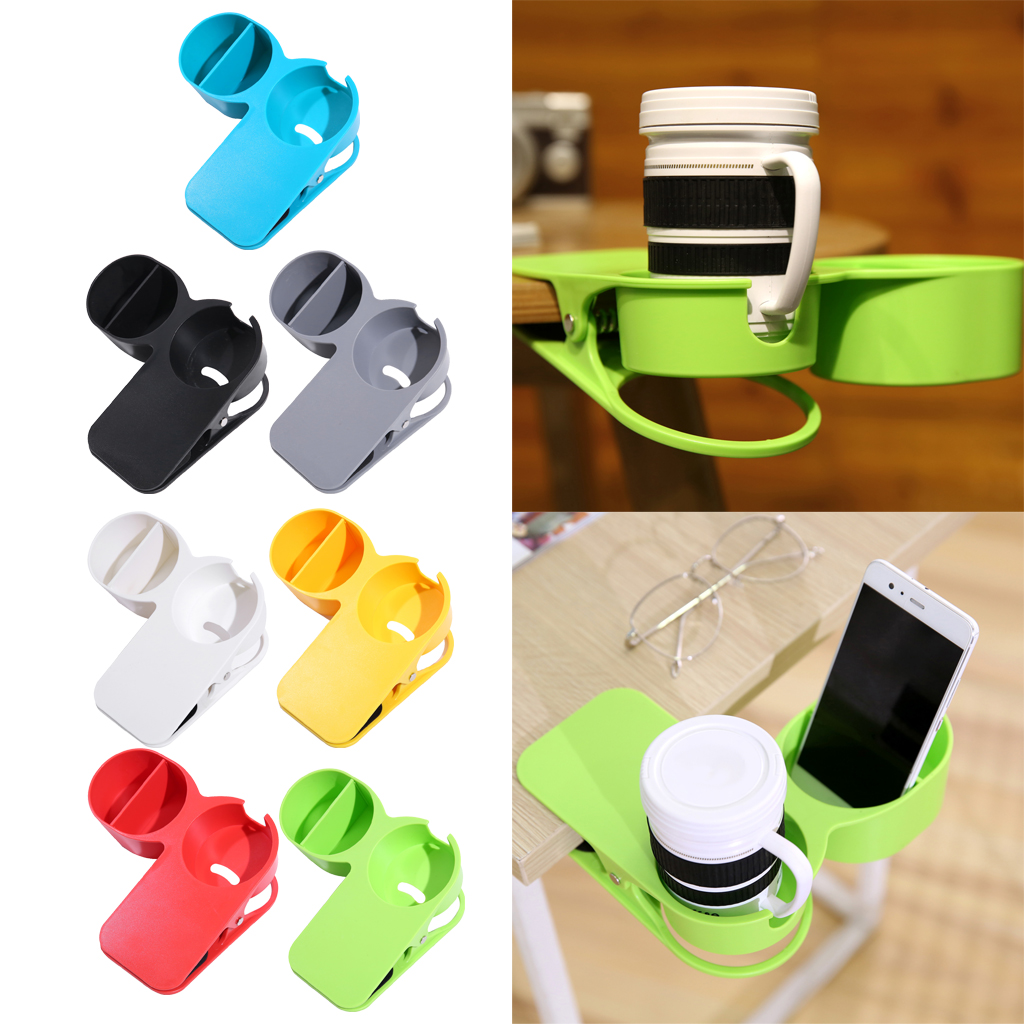 Cup Holder Clip Office Table Desk Side Huge Clip Clamp For Water Drink Coffee Tea Cups Within 8cm Diameter