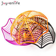 1pcs Halloween Creative Spider Web Plastic Fruits Candy Basket Party Decoration for home Spiderweb Bowl Plates