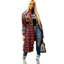 Chaqueta Bomber de camuflaje de talla grande para mujer, ropa de calle Harajuku, abrigo largo con volantes en capas, prendas de vestir, Otoño e Invierno