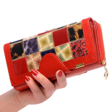 Genuine Leather Wallets Fashion Long wallet Plaid Student Co